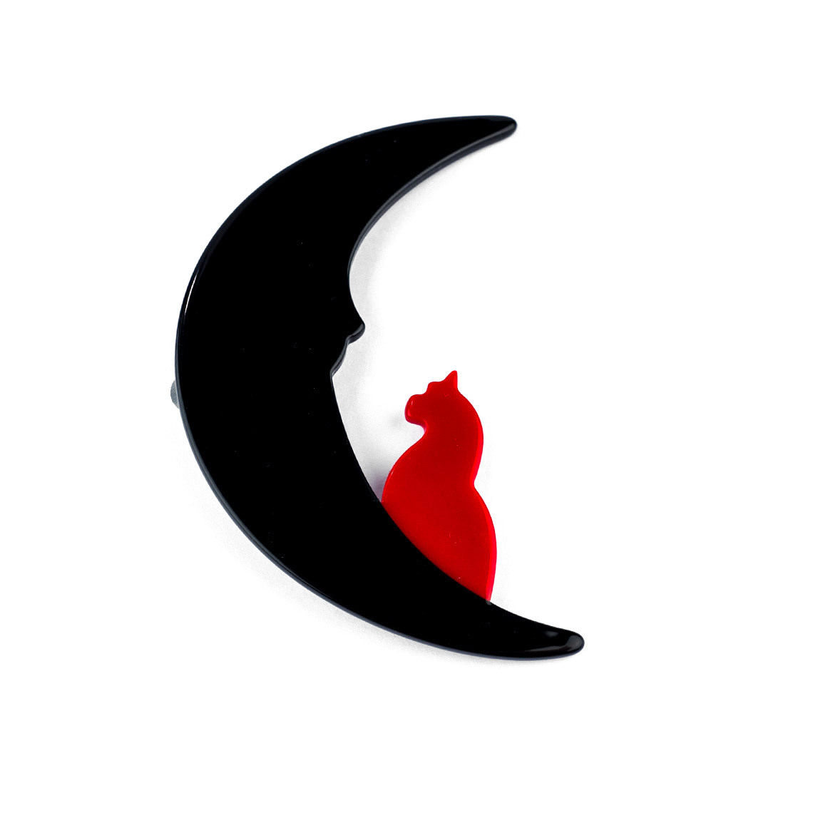 Moon with Red Cat​ Brooch