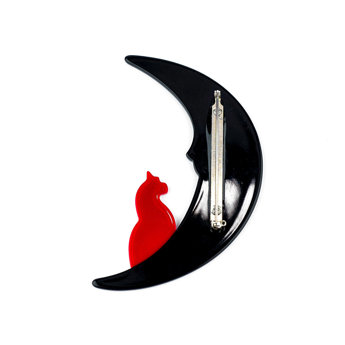 Moon with Red Cat Brooch
