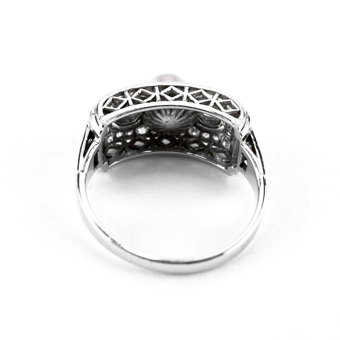 Art Deco White Gold Ring