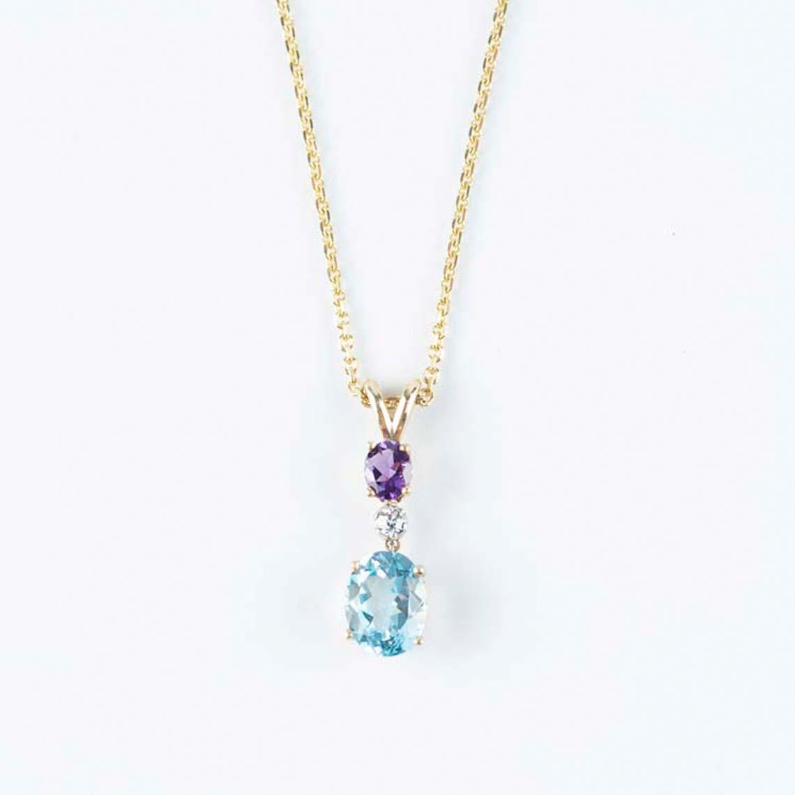 Topaz, amethyst and diamond pendant