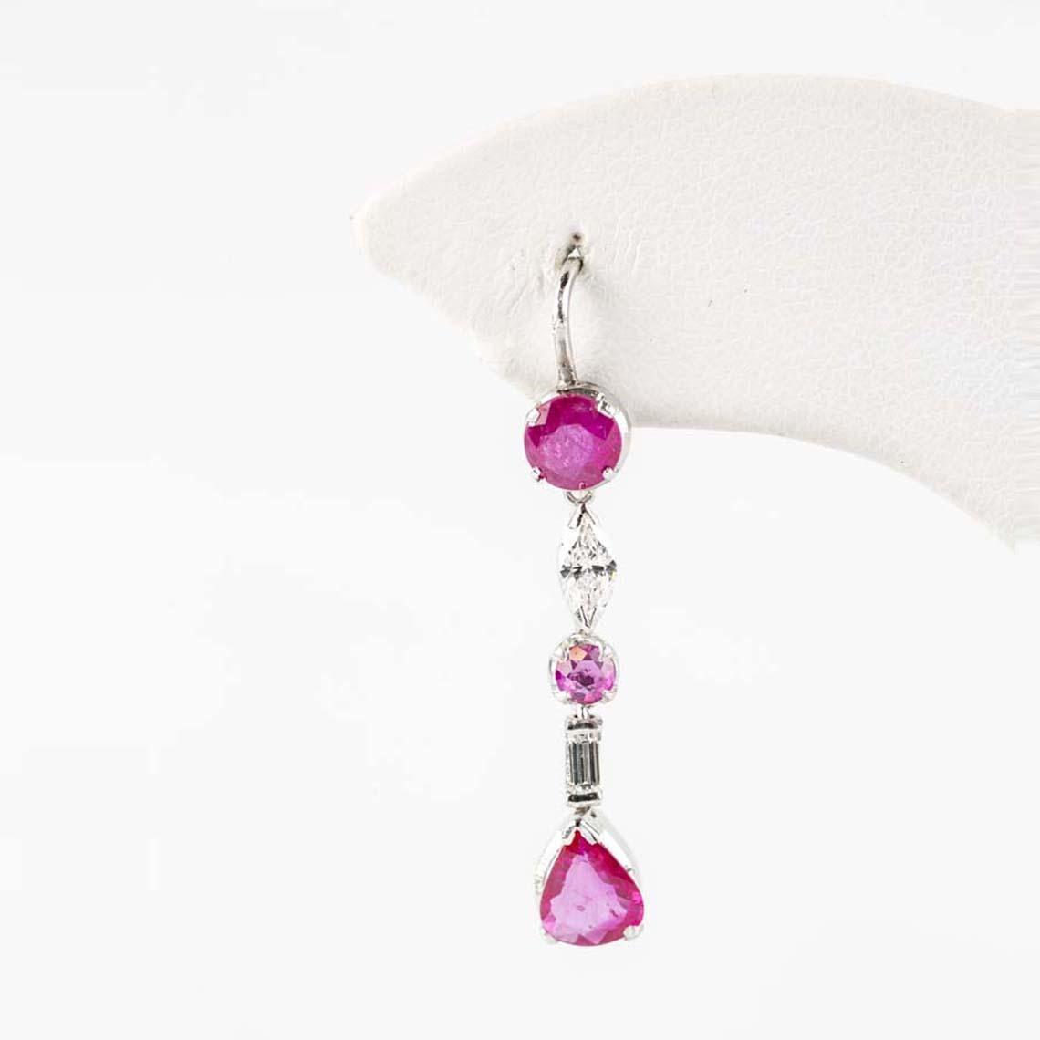 Vintage ruby and pearl earrings
