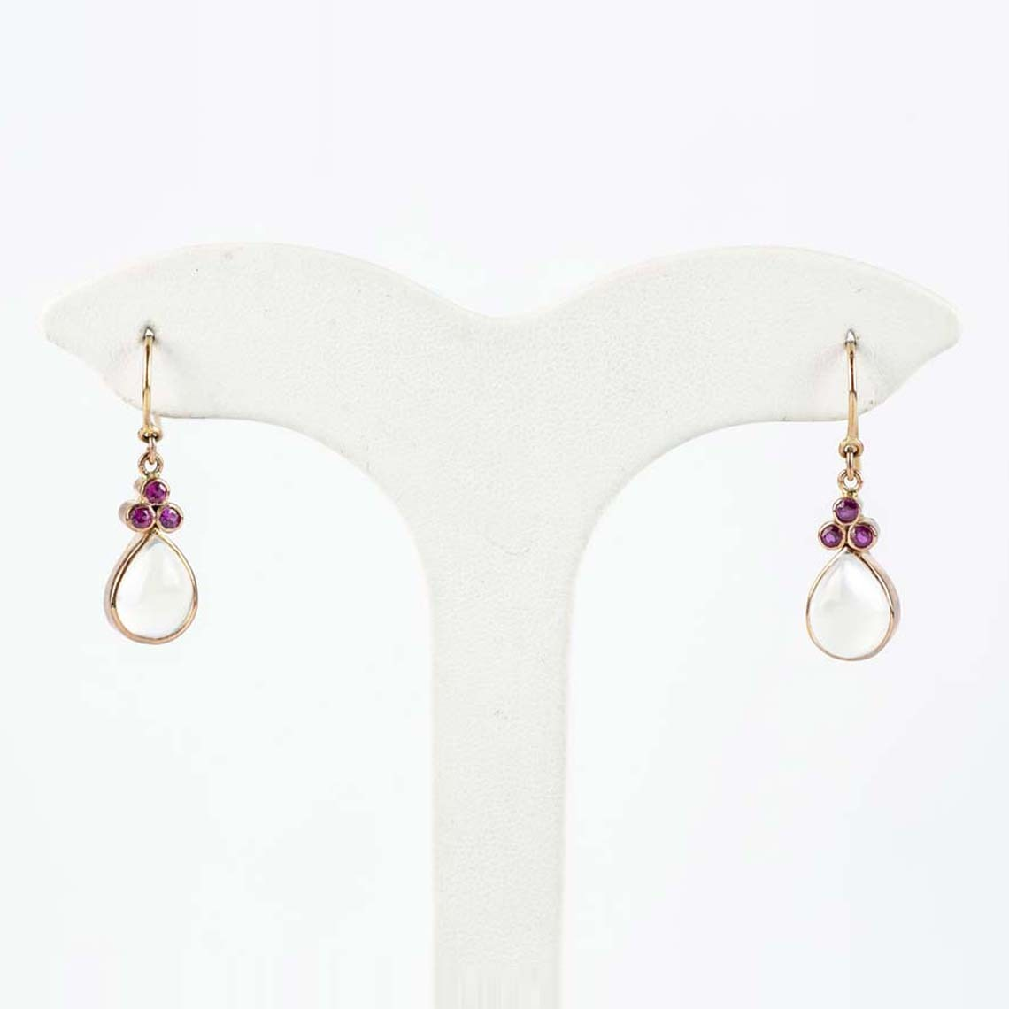 Moonstone and ruby earrings