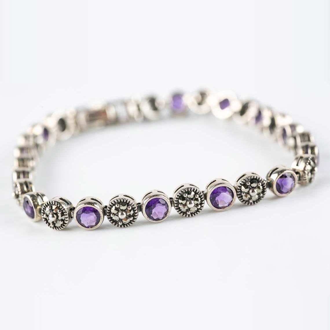 Amethyst and marcasite bracelet