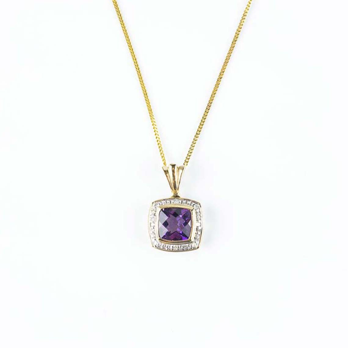 Amethyst diamond pendat