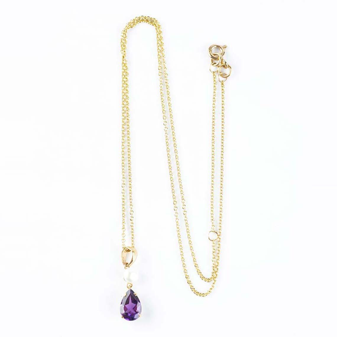 Amethyst pearl pendant