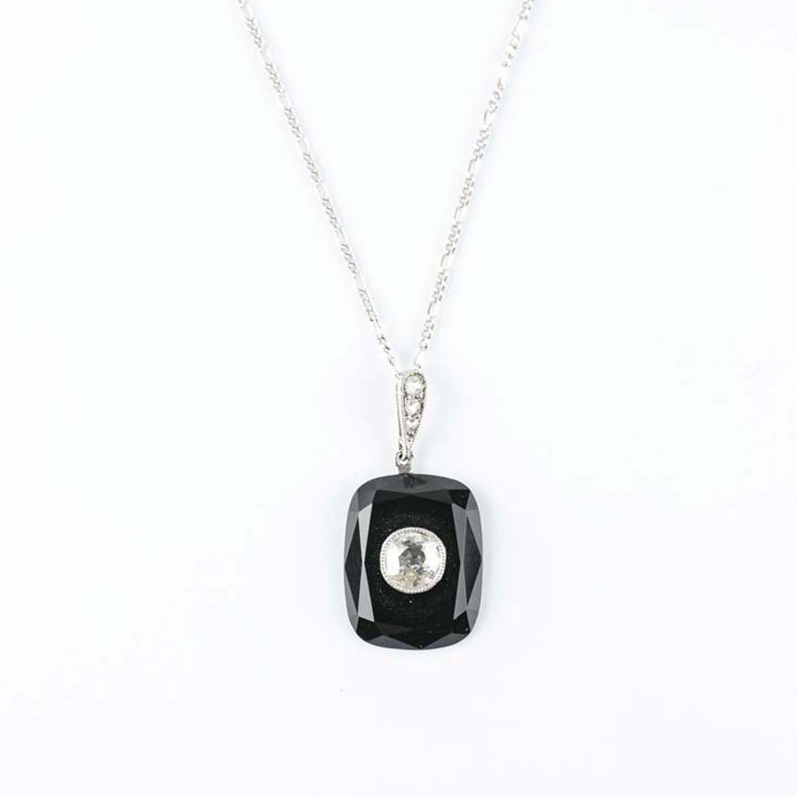 Vintage onyx diamond pendant