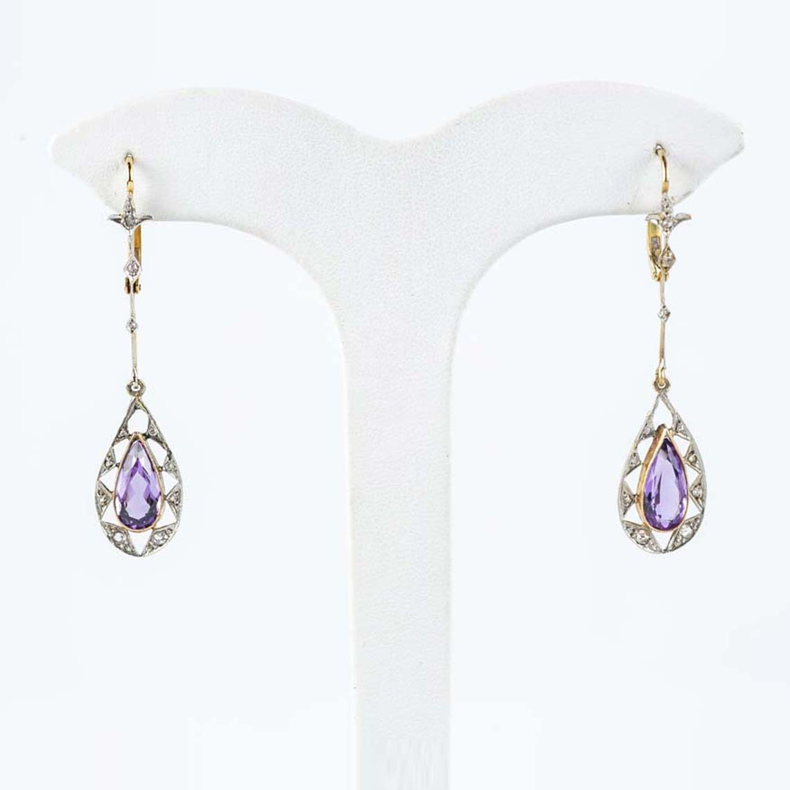 Edwardian amethyst diamond earrings