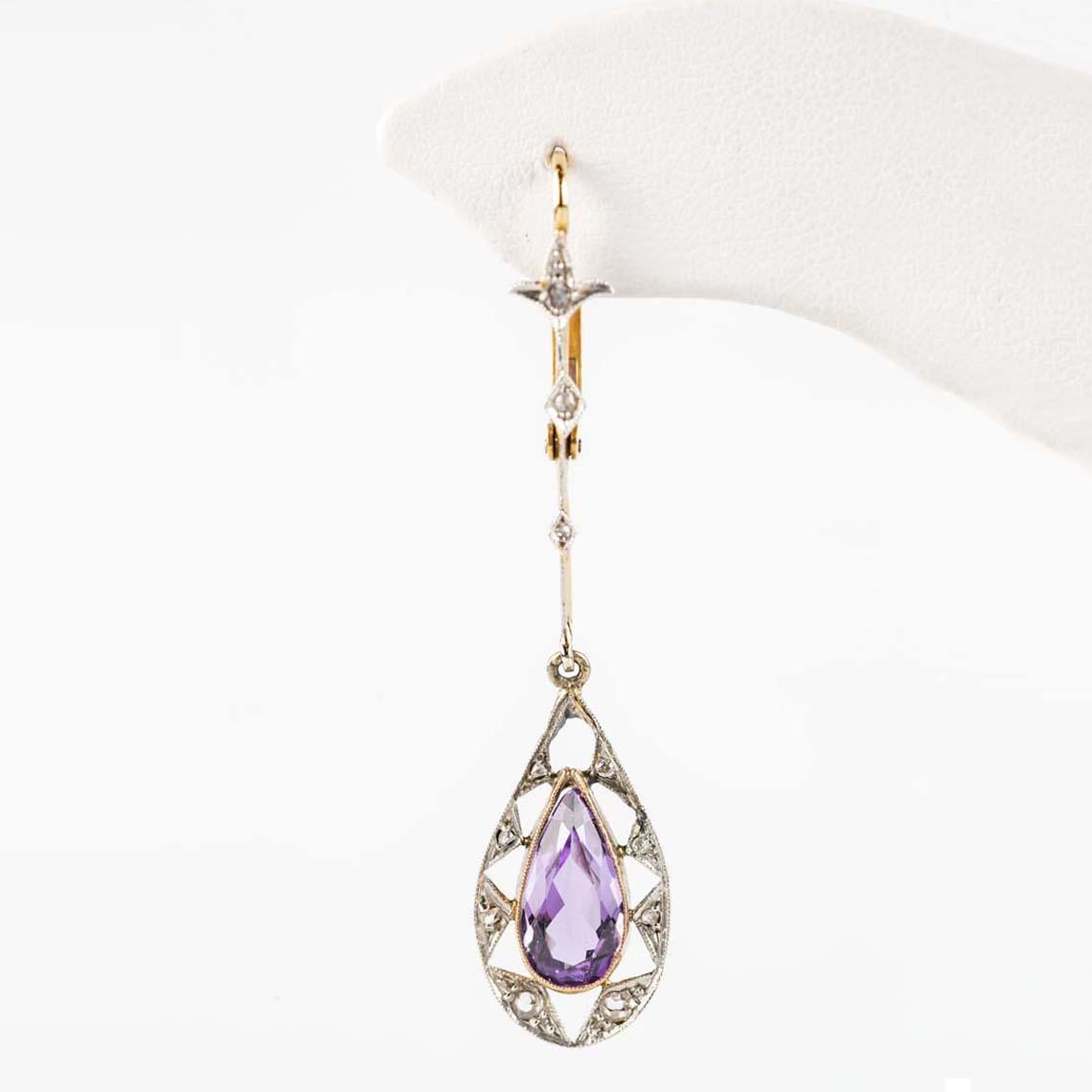 Edwardian amethyst diamond earrings