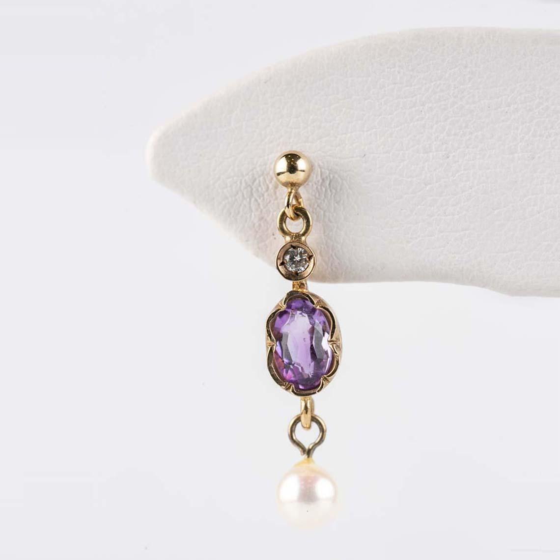 Amethyst, pearl and diamond earrings