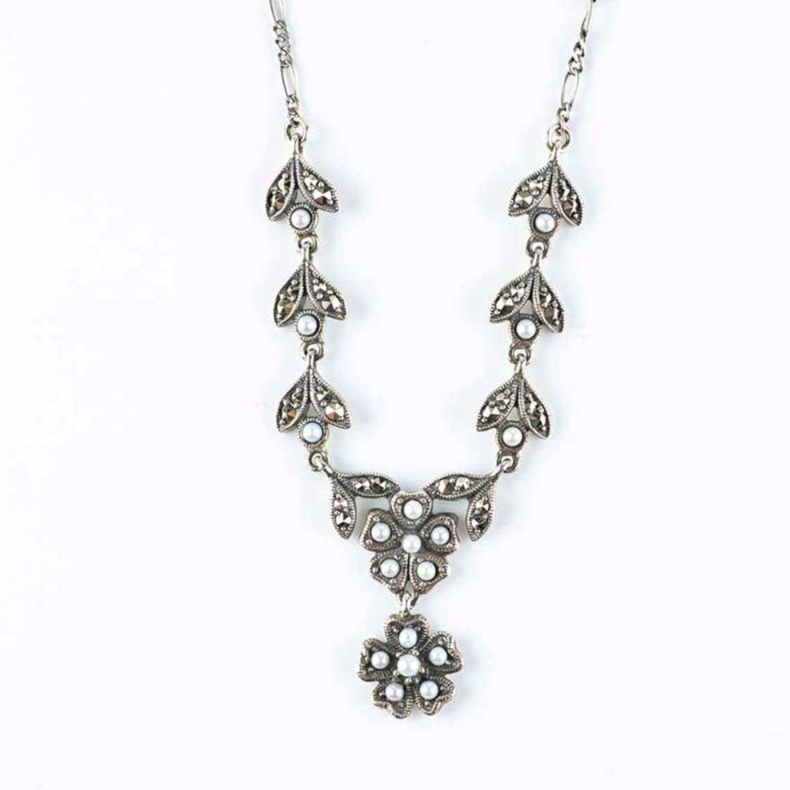 Pearl marcasite necklace