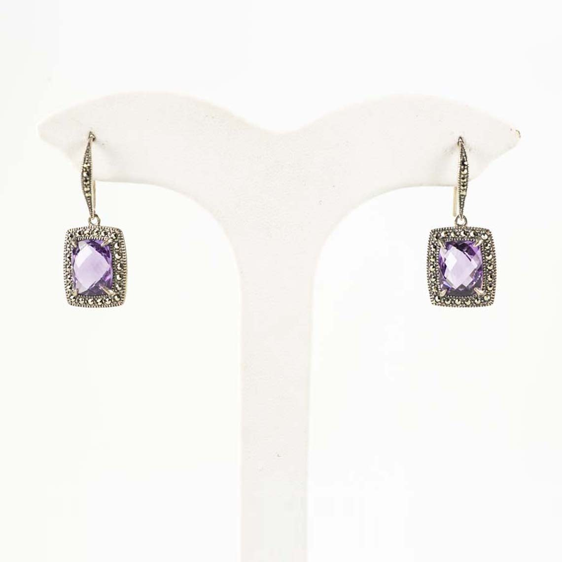Amethyst and marcasite earrings