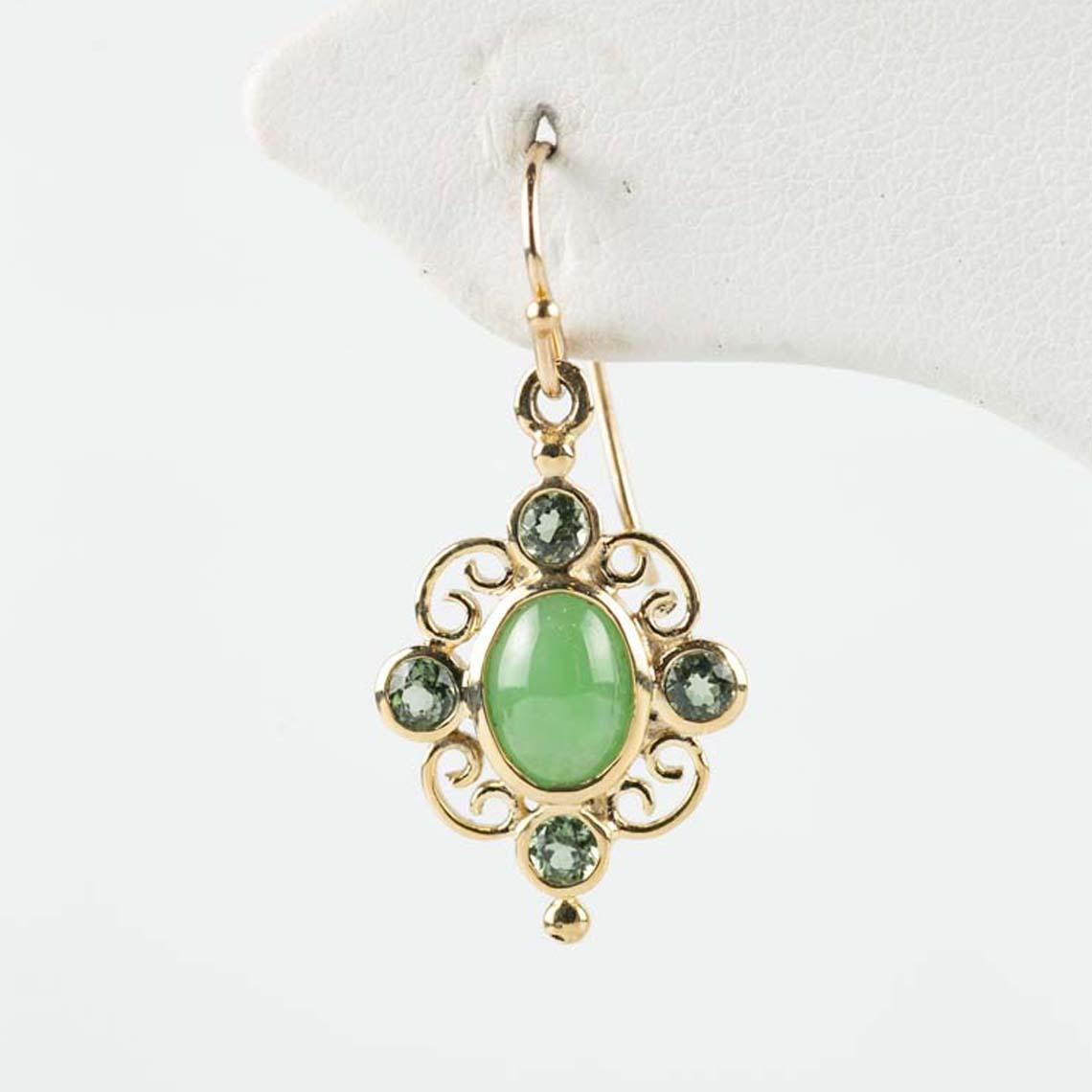 Jade and tourmaline earrings