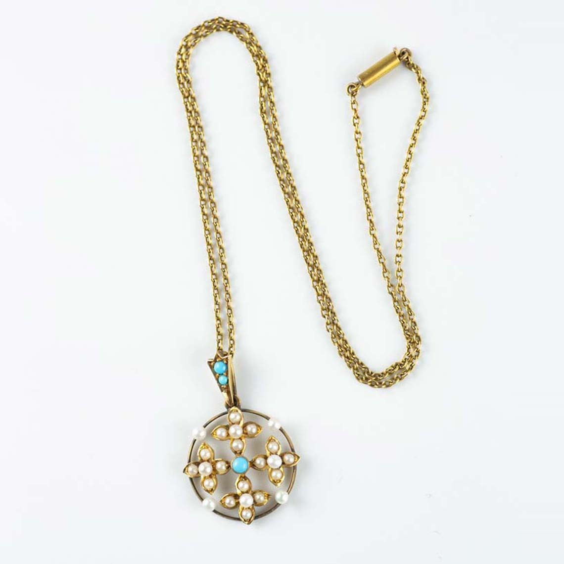Vintage pearl and turquoise  pendant