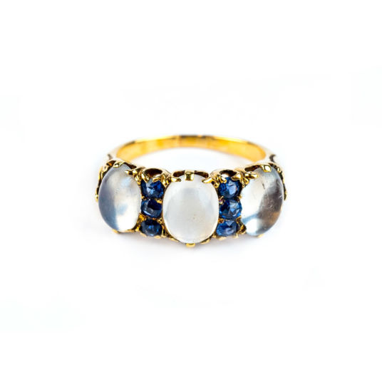 Moonstone and Sapphire Ring