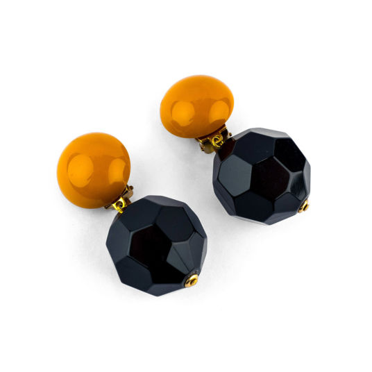Black and Mustard Earrings ​