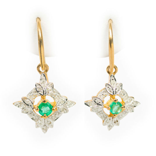 Emerald Leaf Motif Earrings