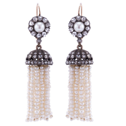 Art Deco diamond and pearl earrings