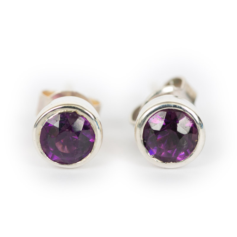 earrings amethyst in gold stud rogers hollands white