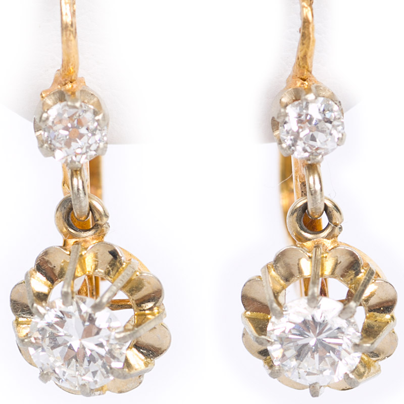 French Diamond Drop Floral Earrings