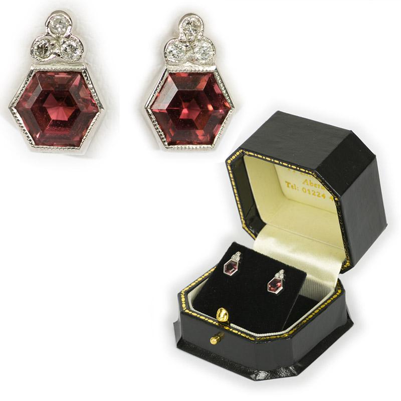Hexagonal Tourmaline Stud Earrings