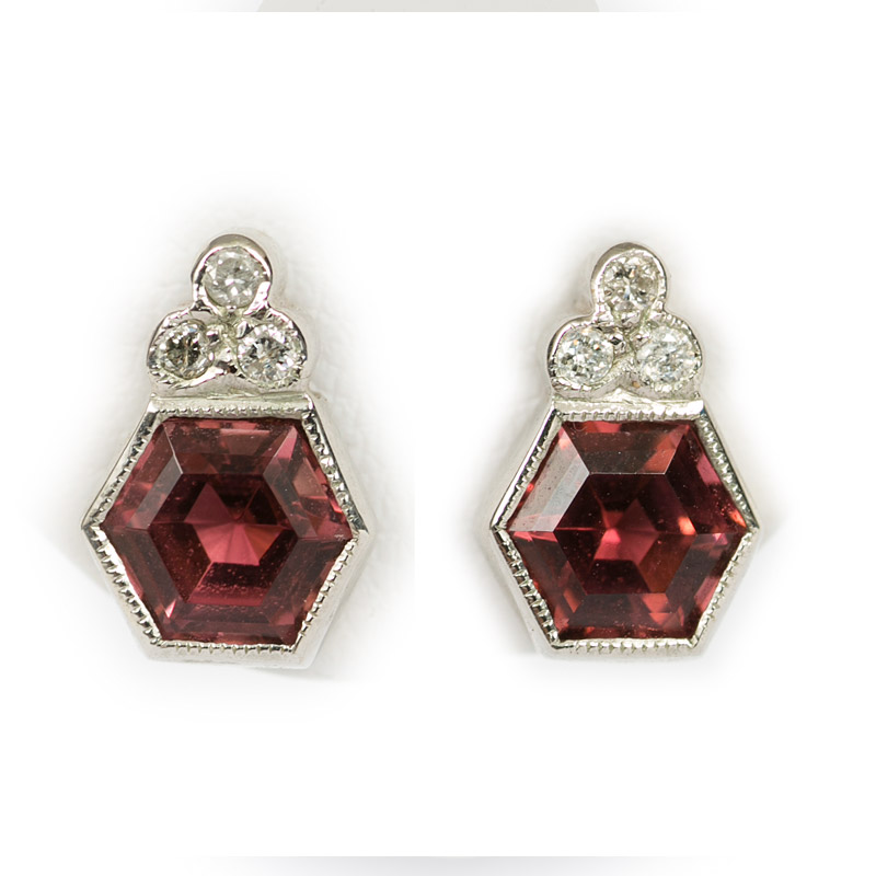 Hexagonal Tourmaline Stud Earrings