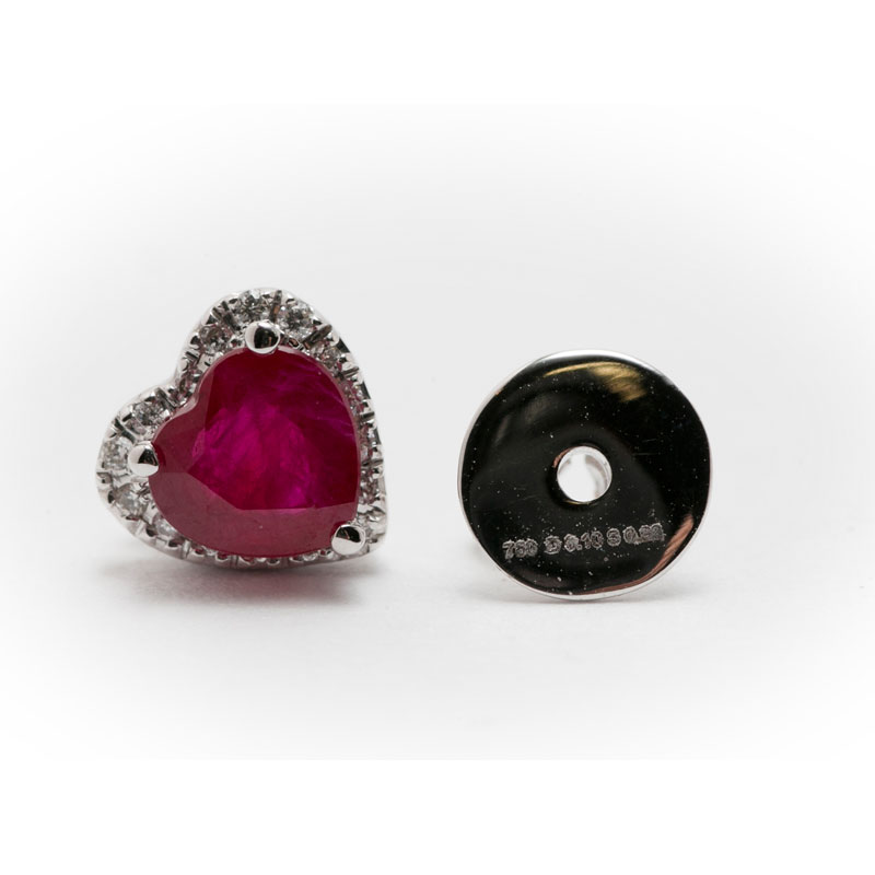 Ruby Heart Shaped Earrings