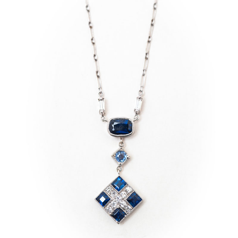 sapphire pendant gold womens diamond necklace saphire white ct blue