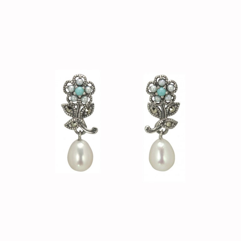 Turquoise, pearl, marcasite and silver earrings